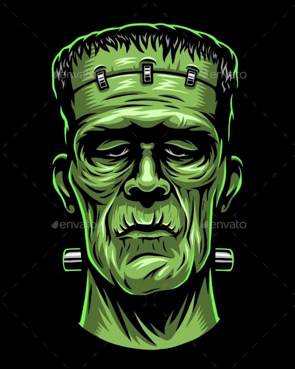 GraphicRiver Color Illustration of Frankenstein Head 20562807