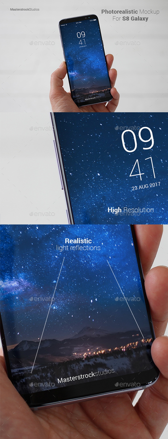 S8 Galaxy Smartphone Photo-realistic Mockup 5 - Mobile Displays