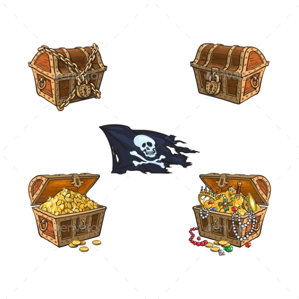 Vector Wooden Treasure Chest Set Isolated - Man-made Objects Objects
