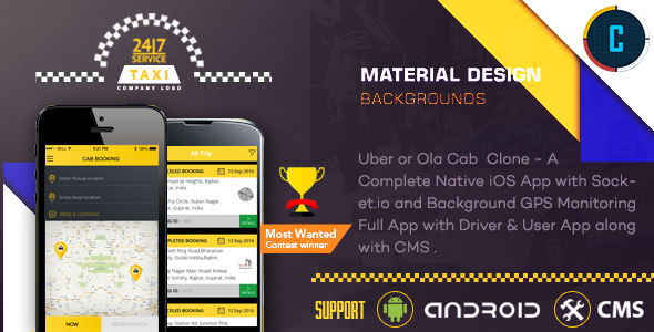 Taxi Booking App - A Complete Clone of UBER with User,Driver & Backend CMS Coded with Native Android - CodeCanyon Item for Sale