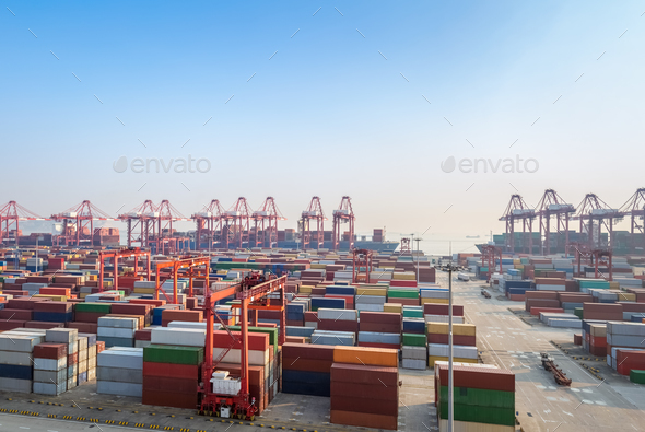 modern container terminal at dusk - Stock Photo - Images