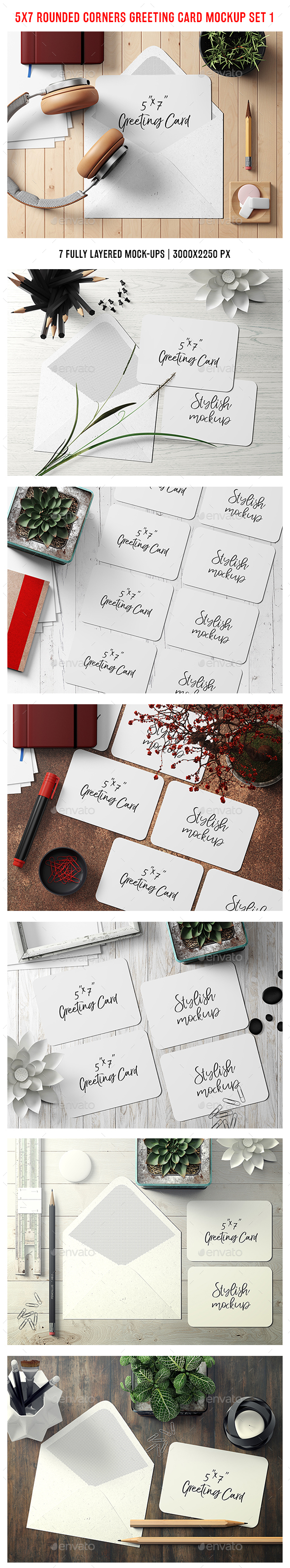 5x7 Rounded Corners Greeting Card / Postcard Mockup - Set 1 - Stationery Print