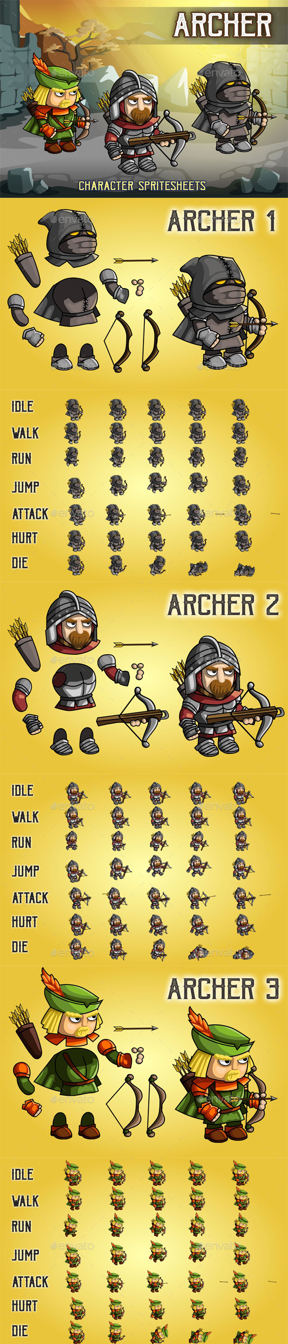 GraphicRiver Archer 2D Game Character Sprite Sheet 20563299