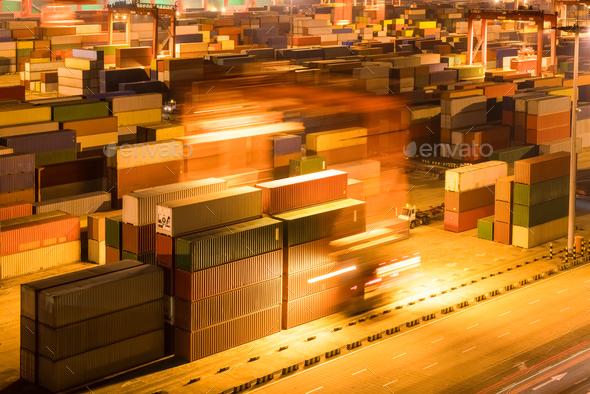container yard at night - Stock Photo - Images