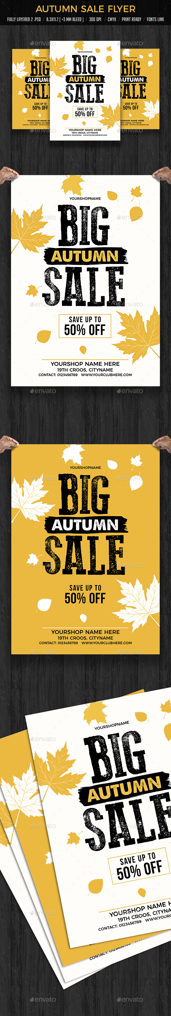 Autumn / Fall Sale Flyers Poster - Flyers Print Templates