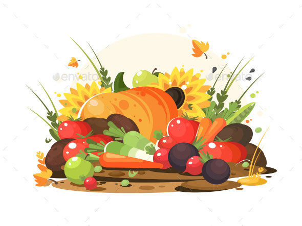 Autumn Harvest of Vegetables and Fruits - Food Objects