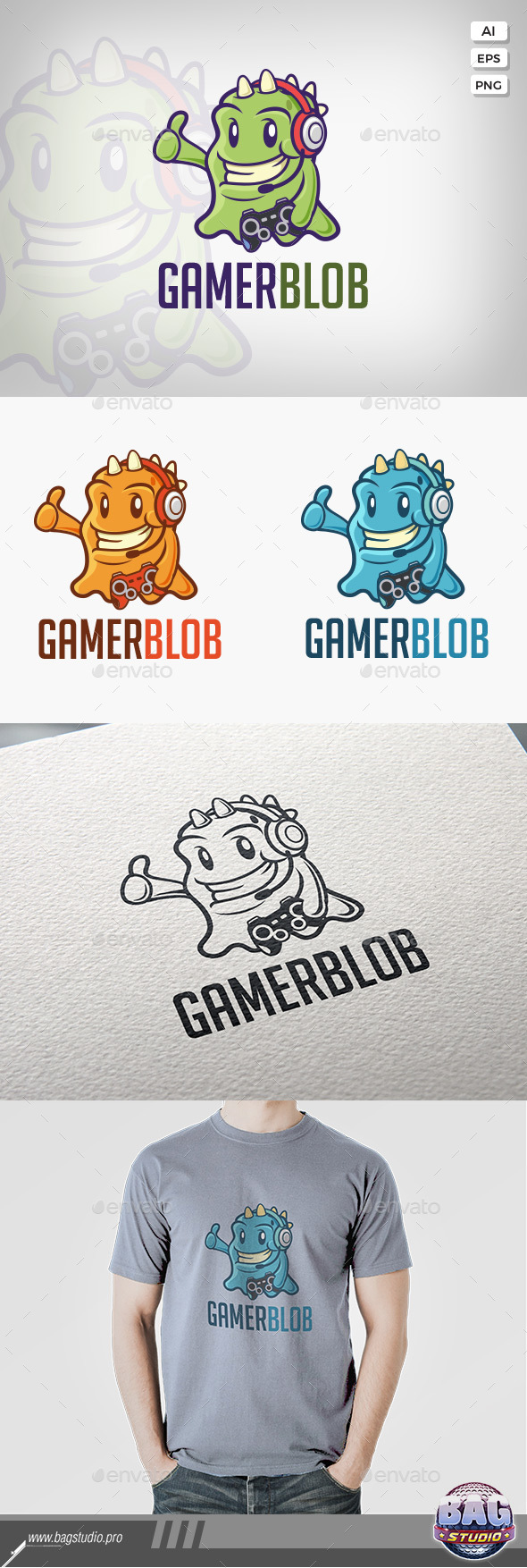 GraphicRiver Gamer Monster Vector Logo Template 20563407