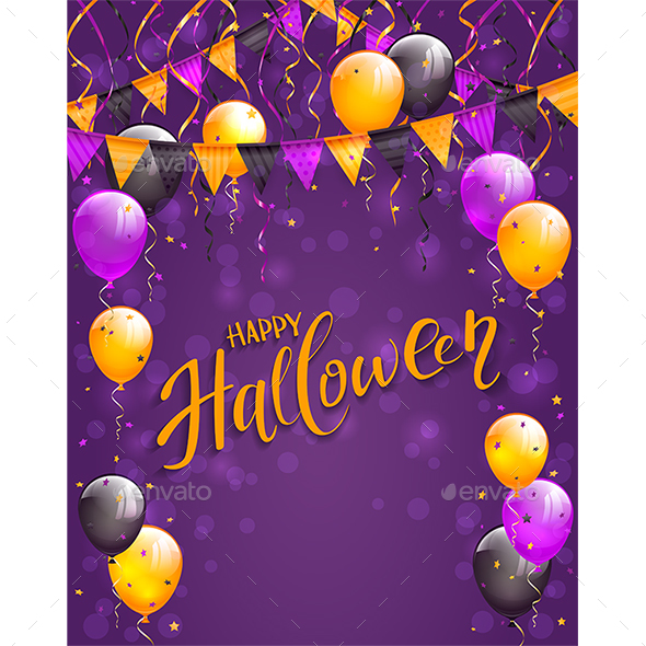 Lettering Happy Halloween with Pennants and Balloons on Violet Background - Halloween Seasons/Holidays
