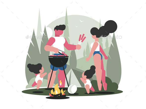 Young Family with Children on Picnic - Miscellaneous Vectors