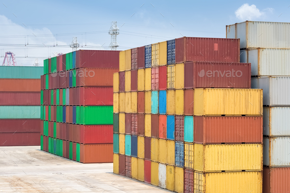 shipping container stack yard - Stock Photo - Images