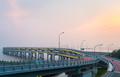 dalian bay bridge in sunset
