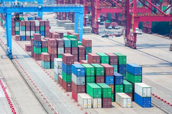 container terminal closeup - Stock Photo - Images