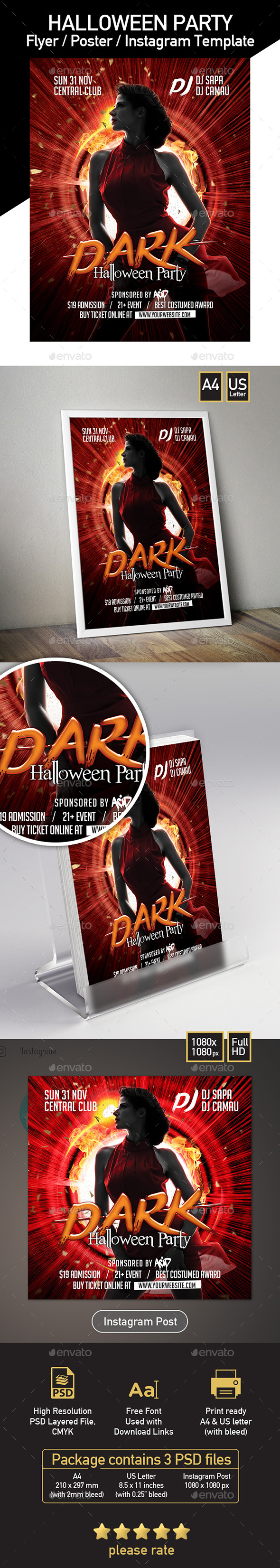 Club Template Set for Halloween - Clubs & Parties Events