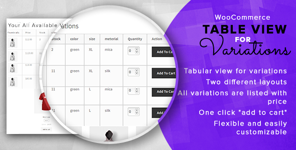 CodeCanyon Woocommerce Table View For Variations 20564090