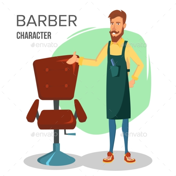 Cartoon Barber Character - People Characters