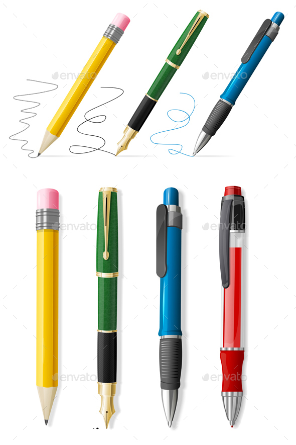 Realistic 3d Pen and Pencil Set - Man-made Objects Objects