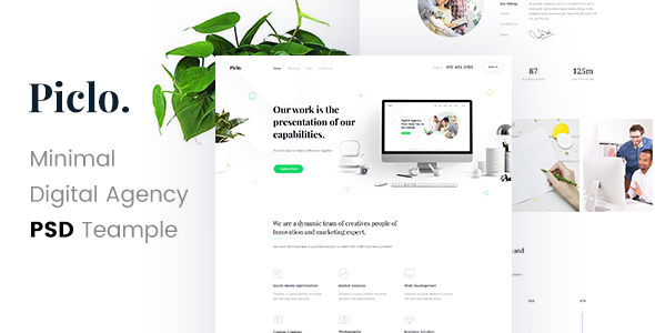 Piclo. - Minimal Digital Agency PSD Template
