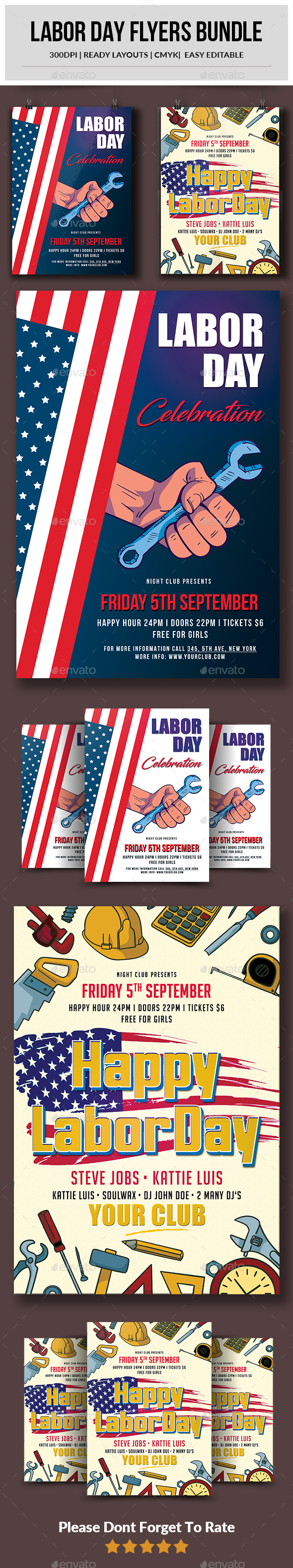 Labor Day Flyers Bundle - Events Flyers