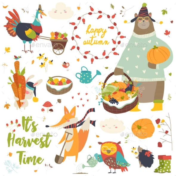 GraphicRiver Harvesting Animals Set 20564407