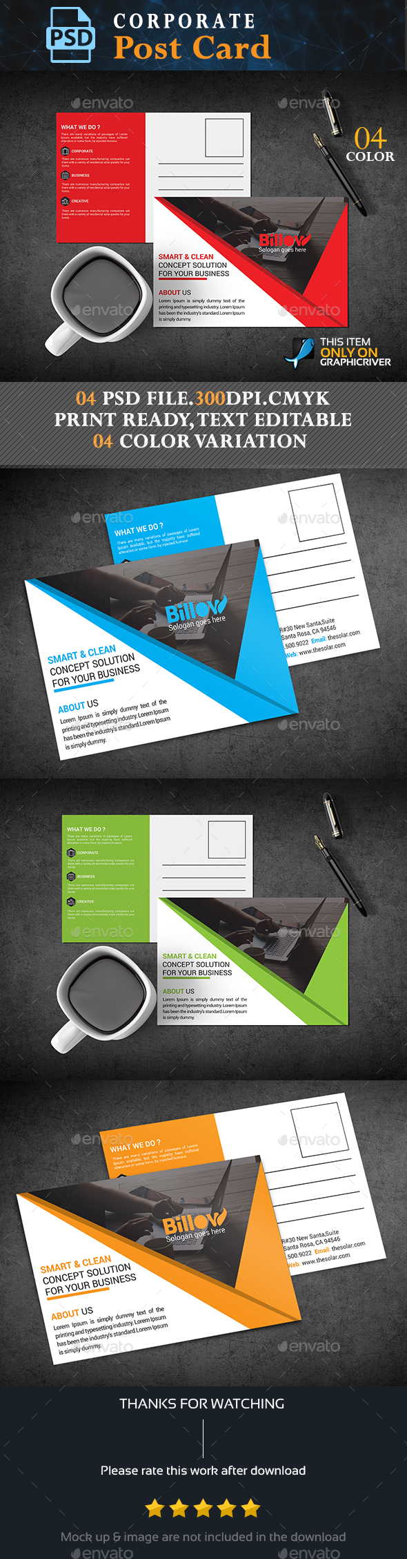 Corporate Post Card - Stationery Print Templates