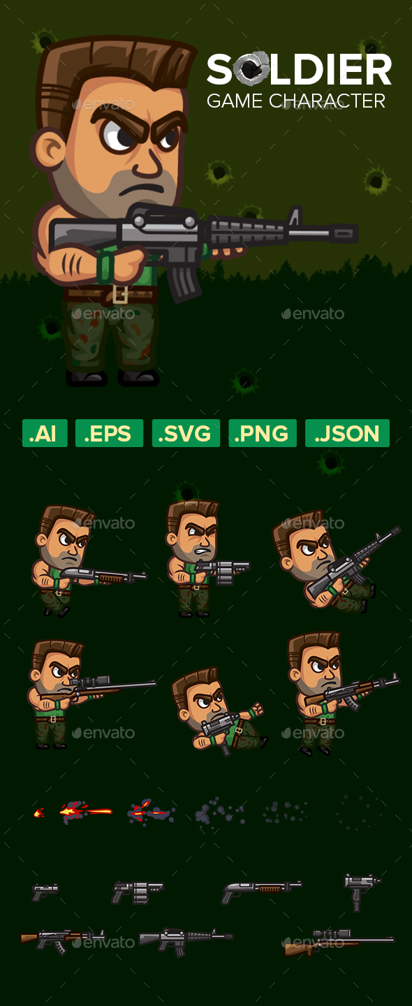 Game Character 2D Soldier Sprite - Sprites Game Assets