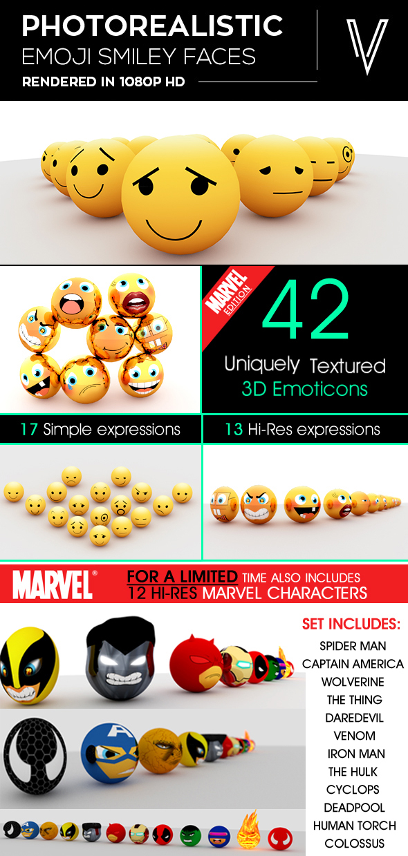 3D Emoticons - 3DOcean Item for Sale