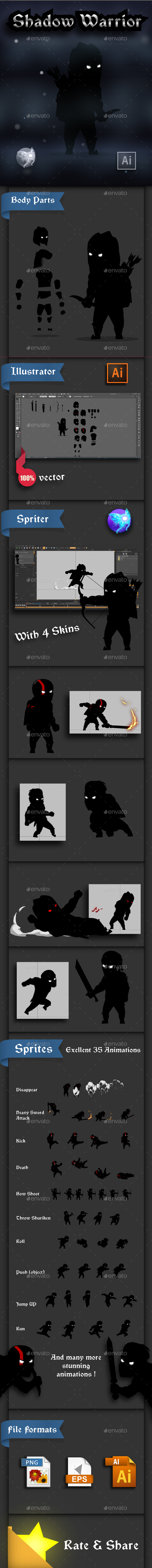 Shadow Warrior 2D Game Sprites - Sprites Game Assets
