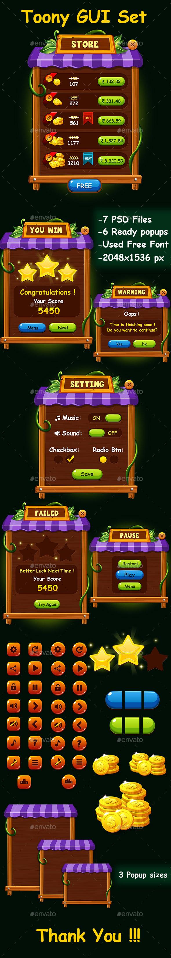 GraphicRiver Mobile Game Toony UI kit 20557671