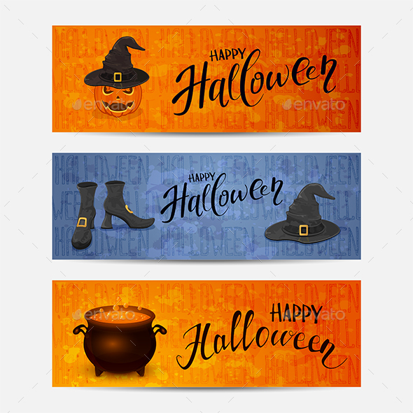 Set of Banners with Lettering Happy Halloween - Halloween Seasons/Holidays