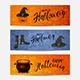 Set of Banners with Lettering Happy Halloween