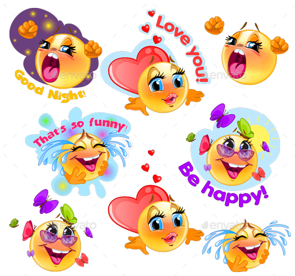 Happy Cartoon Smileys and Stickers Set - Miscellaneous Characters