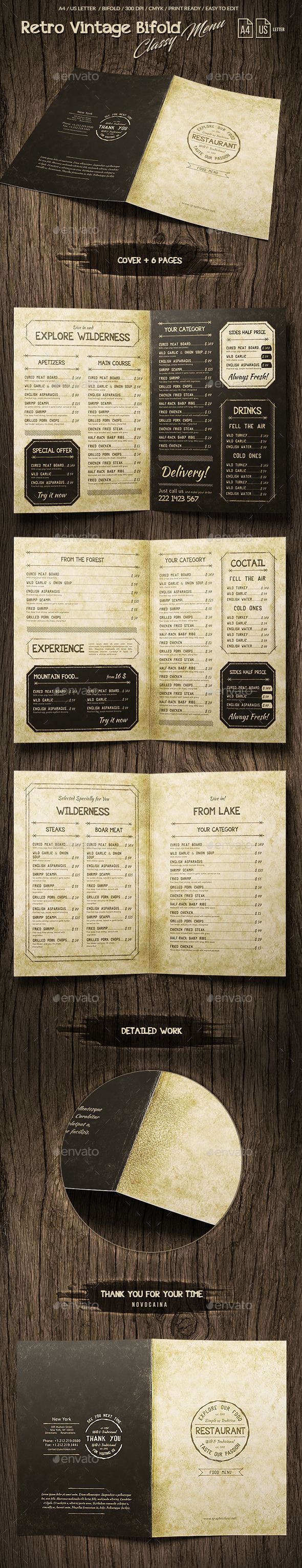 GraphicRiver Retro Vintage Bifold Classy Menu A4 & US Letter 8 pgs 20565207