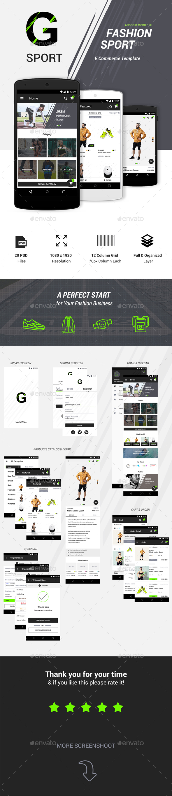 GraphicRiver G-Sport Fashion Ecommerce UI Kit 20565573