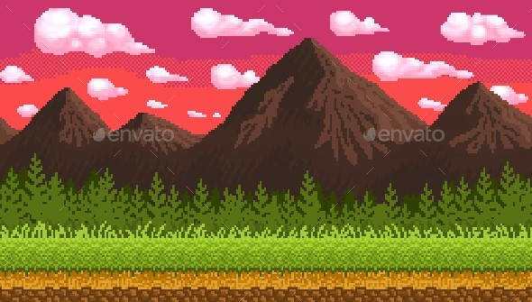 Pixel Art Seamless Background with Mountains - Backgrounds Game Assets