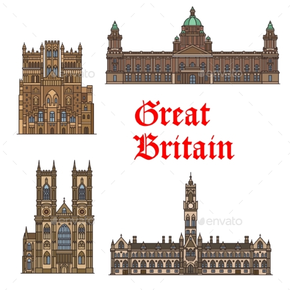 GraphicRiver English Travel Landmark of Great Britain Thin Icon 20565706