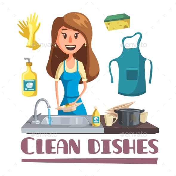 Woman Washing Dishes By Hand in Sink Poster - People Characters