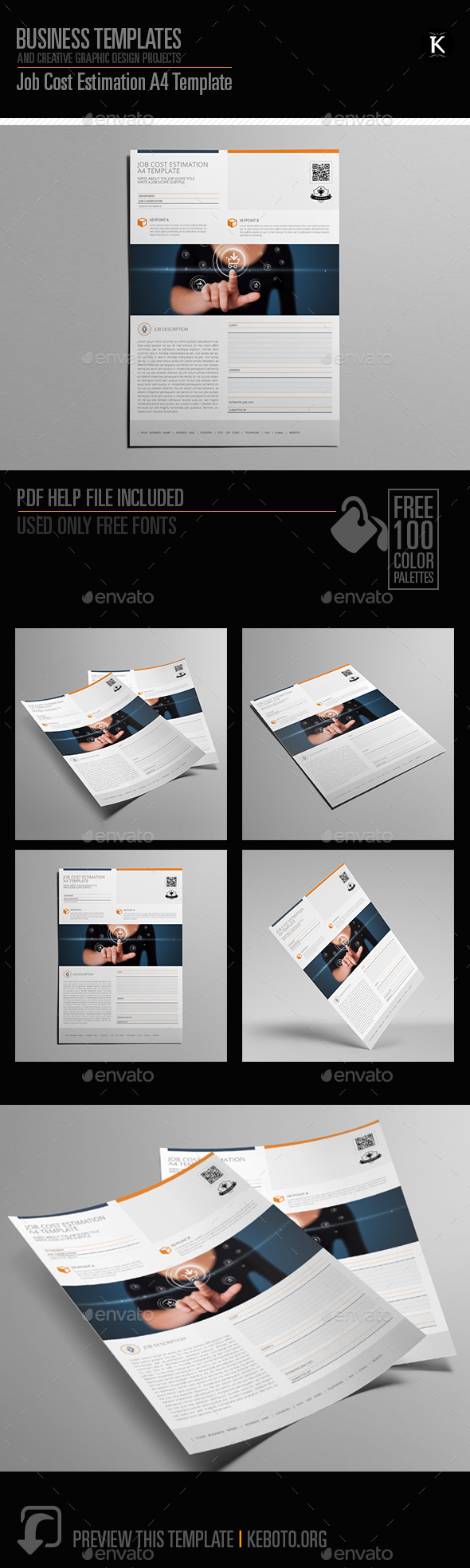 Job Cost Estimation A4 Template - Miscellaneous Print Templates