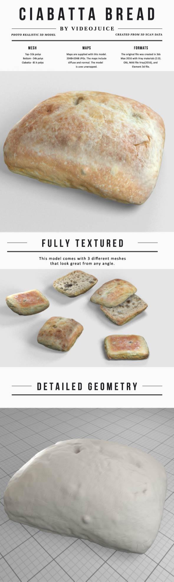 Ciabatta Bread - 3DOcean Item for Sale