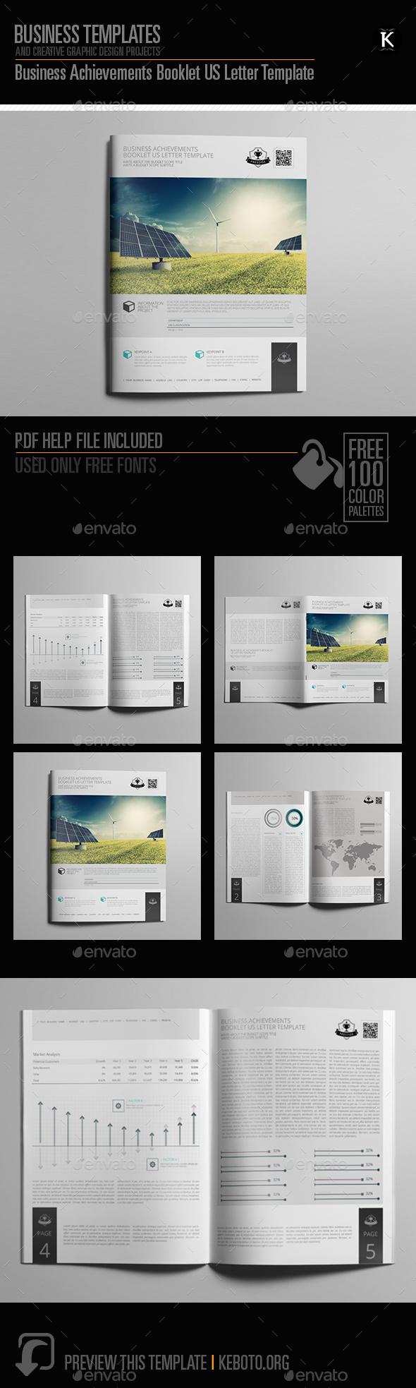 Business Achievements Booklet US Letter Template - Miscellaneous Print Templates