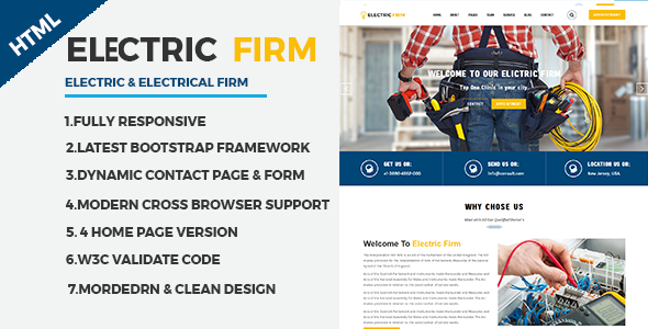 ElectricFirm - Electrician & electricity services HTML website template