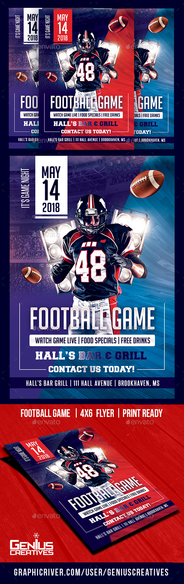 GraphicRiver Football GameDay Flyer Template 20566175