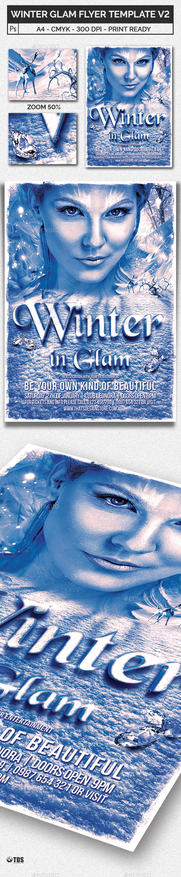 Winter Glam Flyer Template V2 - Clubs & Parties Events