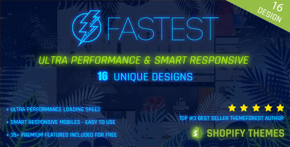 Image of Fastest - Smart responsive Shopify themes - Fashion,Tee, DropShip, SuperMarket (16+ Homes)