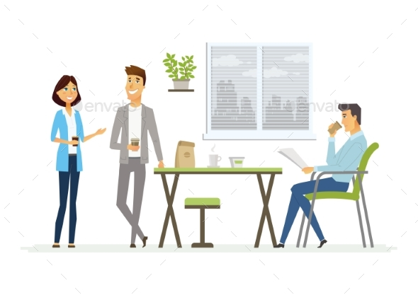 Business Lunch - Modern Vector Cartoon Characters - Concepts Business