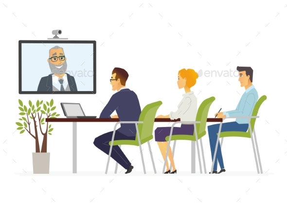 Distance Meeting - Modern Vector Cartoon Business - Concepts Business
