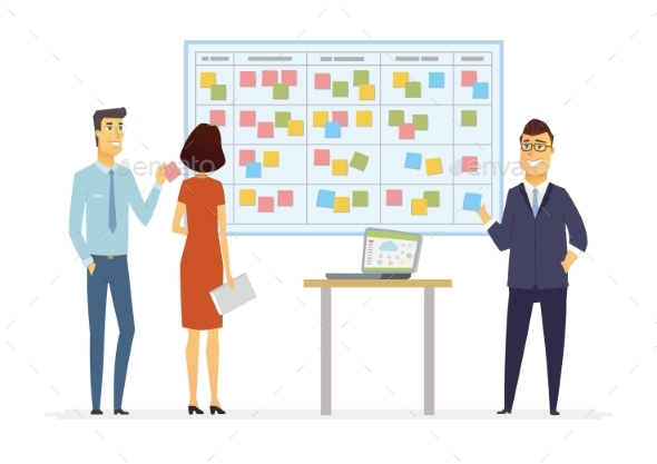 Office Kanban Planning System - Modern Vector - Concepts Business