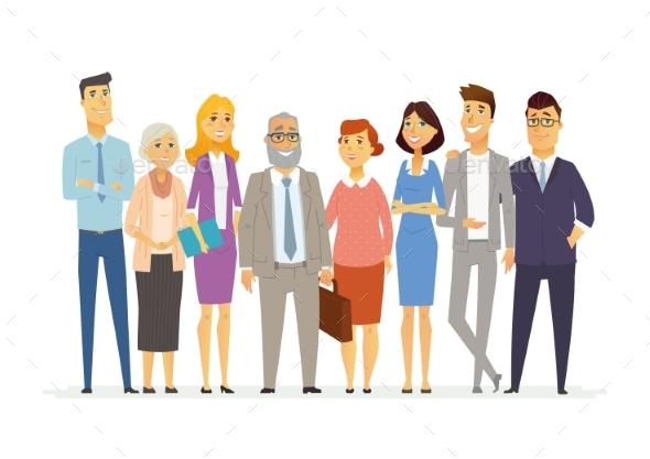 Office Team - Modern Vector Business Cartoon - Concepts Business