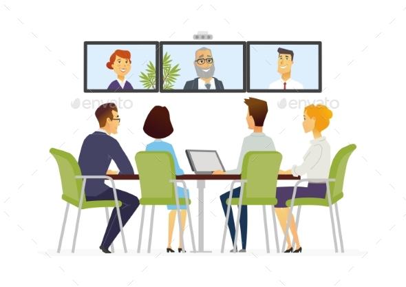 Distance Meeting - Modern Vector Business Cartoon - Concepts Business