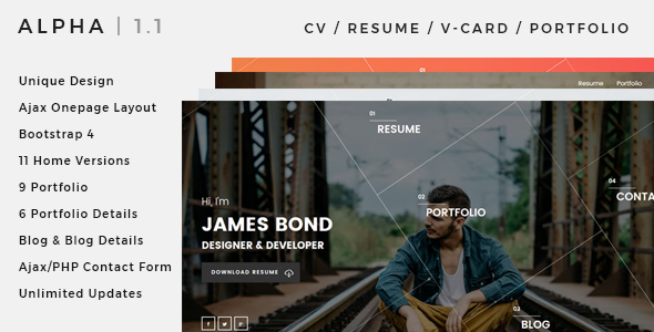 Alpha | CV, Resume, vCard, Portfolio Bootstrap 4 Template - Resume / CV Specialty Pages