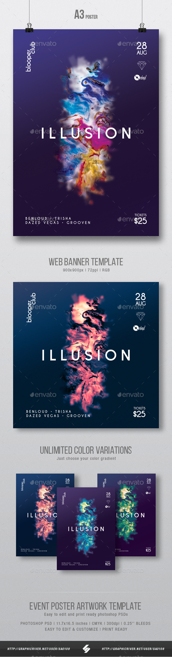 GraphicRiver Illusion Minimal Party Flyer Poster Artwork Template A3 20567273